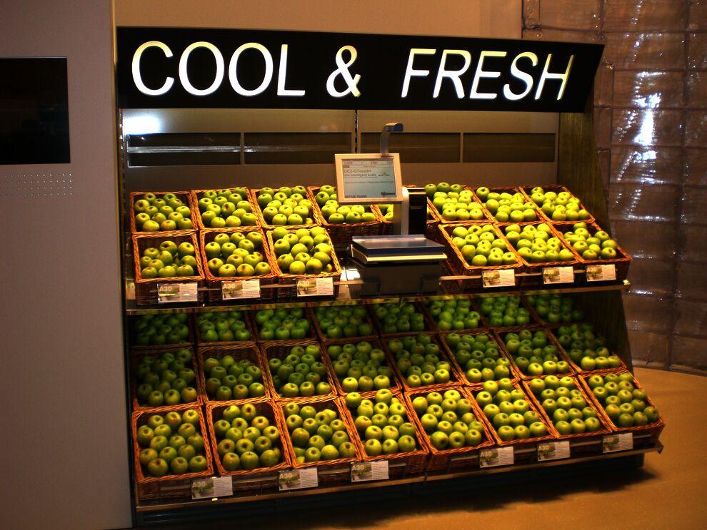 Produktpräsentation Von Gekühlten Obst Und Gemüse Mit